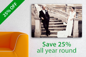 "25% off year-round on 20×16"" & 30x20"" sizes of your favourite wall products."